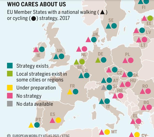 Európai országok nemzeti gyalogos és kerékpáros stratégiájának térképe