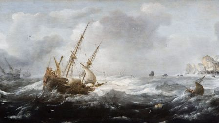 Jan Porcellis – Ships in a Storm on a Rocky Coast
