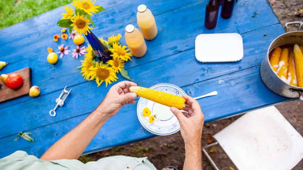 kukorica asztal kéz napraforgó tányér