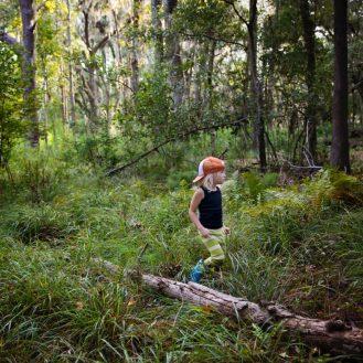egy gyermek az erdőben